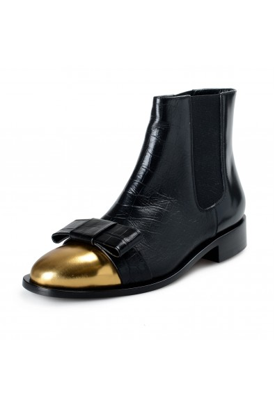 Marni Women's Black Textured Leather Ankle Boots Shoes