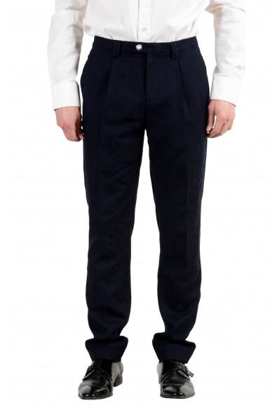 Versace Versus Men's 100% Wool Dark Blue Pleated Dress Pants