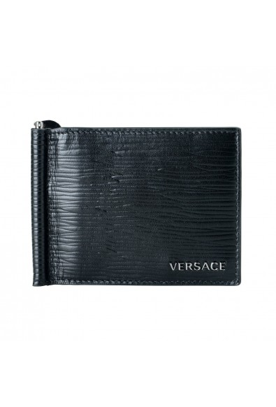Versace Men's 100% Leather Black Money Clip Wallet