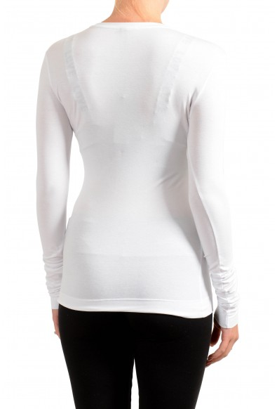 Versace Women's White Stretch Logo Print Long Sleeve Blouse Top : Picture 2