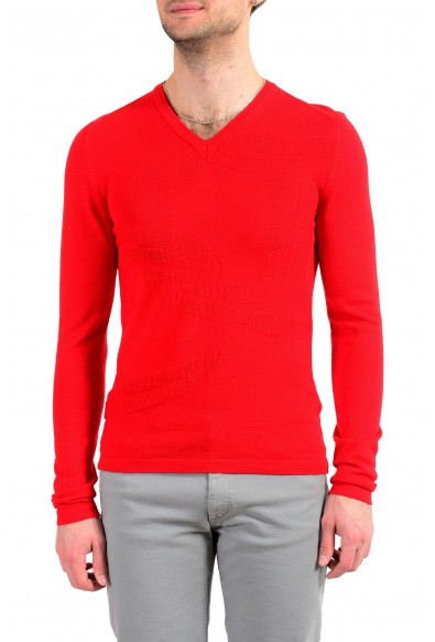 Just Cavalli Men's Red 100% Wool Pullover Sweater