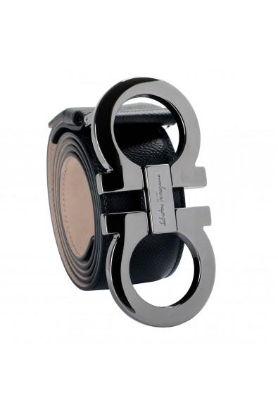 Salvatore Ferragamo Men's Black 100% Textured Leather Buckle Decorated Belt