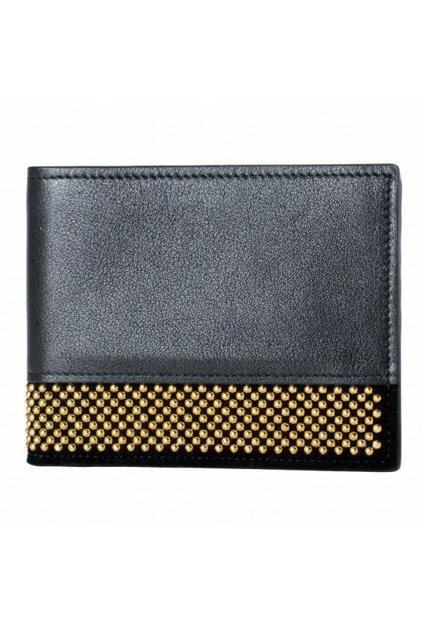 Giuseppe Zanotti Leather Black Gold Metal Beads Embellished Men's Bifold Wallet
