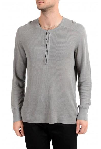 John Varvatos Men's 100% Linen Gray Henley Light Sweater