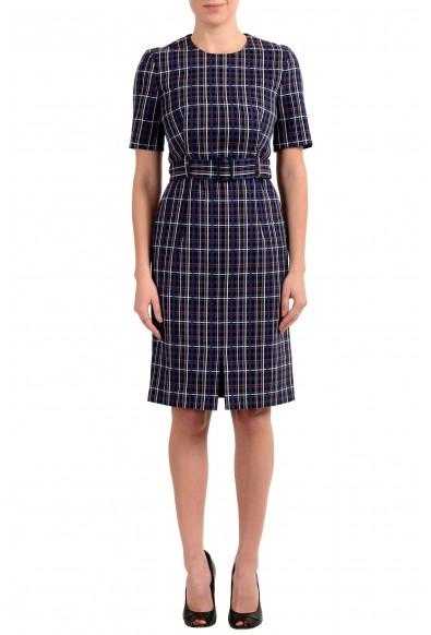 "Hugo Boss ""Ditania"" Women's Multi-Color Belted Short Sleeve Sheath Dress"