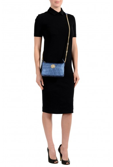 Versace Women's Quilted Leather Sparkle Blue Chain Strap Crossbody Shoulder Bag: Picture 2