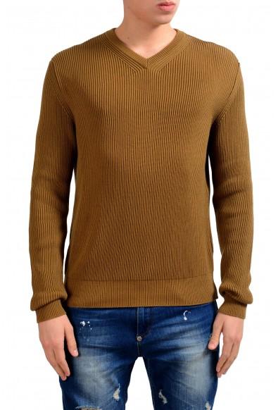 Malo Men's Brown V-Neck Ribbed Sweater