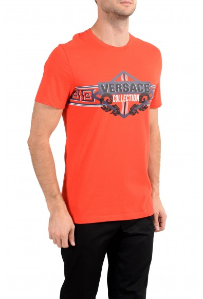 Versace Collection Men's Coral Red Graphic Crewneck T-Shirt: Picture 2