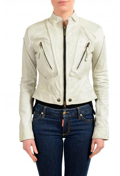 Just Cavalli 100% Leather Gray Full Zip Women's Basic Jacket