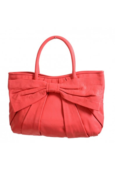 Red Valentino Women's Pink 100% Leather Bow Decorated Tote Shoulder Bag