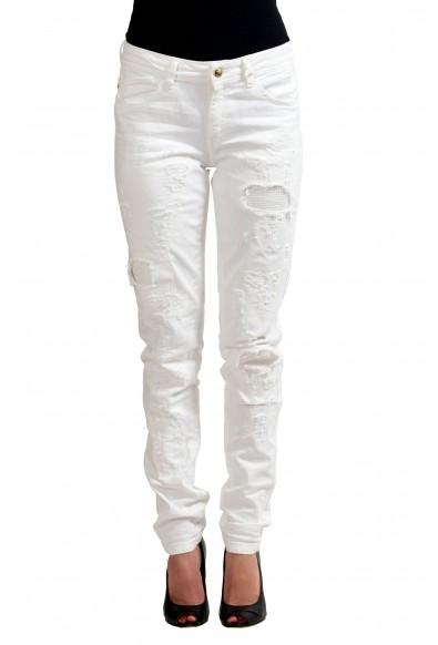 "Just Cavalli ""Luxury"" White Women's Skinny Legs Distressed Jeans"