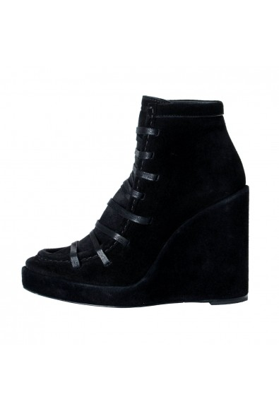 """Moncler Women's """"SUZANNE"""" Black Suede Leather Wedge Ankle Boots Shoes: Picture 2"""