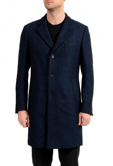 "Hugo Boss Men's ""Nye2""Slim Fit Blue Wool Button Down Coat"