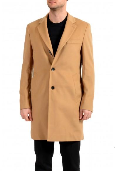 "Hugo Boss Men's ""Nye2""Slim Fit Beige Wool Cashmere Button Down Coat"
