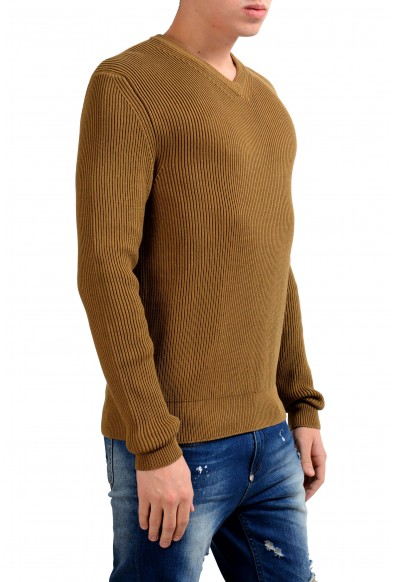 Malo Men's Brown V-Neck Ribbed Sweater: Picture 2