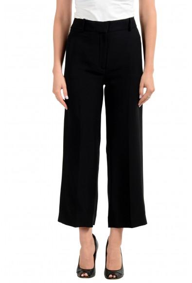 Versace Women's Black 100% Silk Cropped Dress Pants