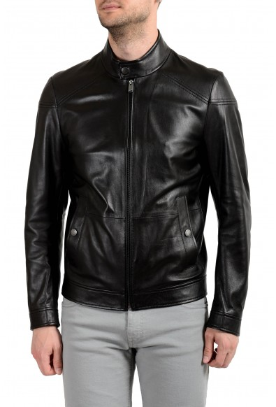 "Hugo Boss ""Nocan"" Men's 100% Leather Black Full Zip Jacket"