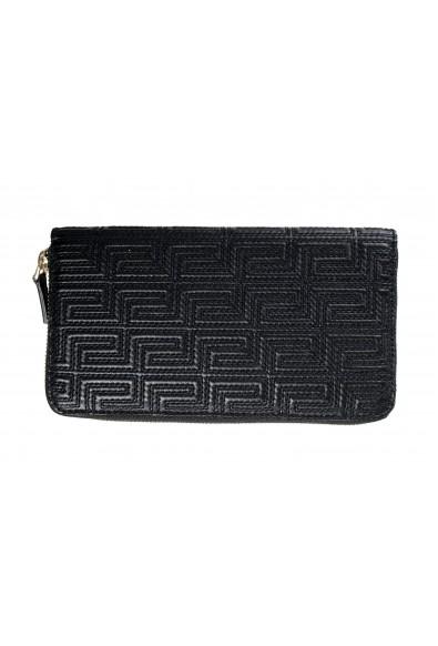 Versace Women's Black 100% Textured Leather Zip Around Wallet