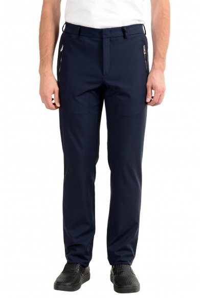 Versace Collection Men's Dark Blue Stretch Casual Pants