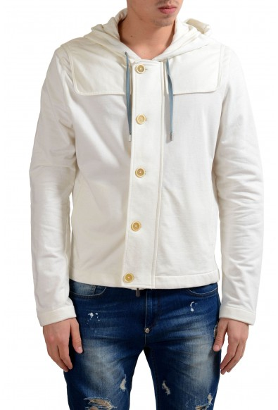 Malo Men's Cashmere White Hooded Button Up Light Jacket