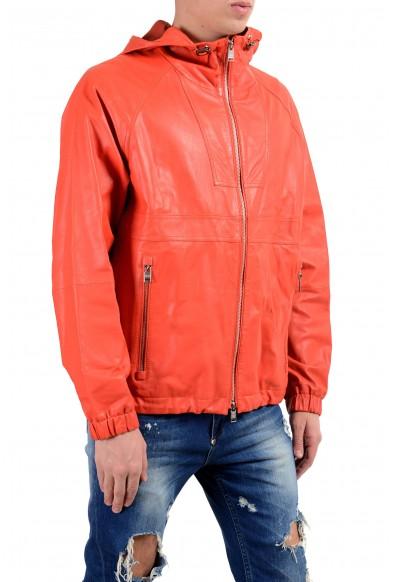 "Hugo Boss ""Carbello"" Men's 100% Leather Orange Hooded Full Zip Jacket: Picture 2"
