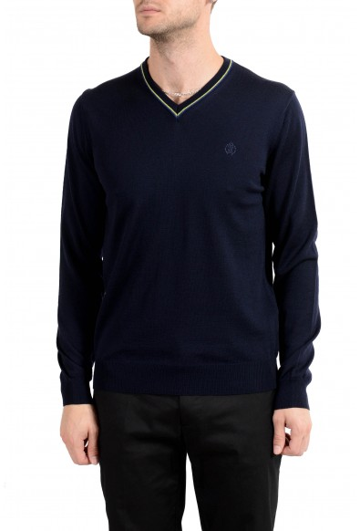Roberto Cavalli Men's 100% Wool Dark Blue V-Neck Sweater
