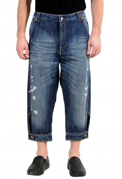 Just Cavalli Men's Blue Ripped Cropped Jeans