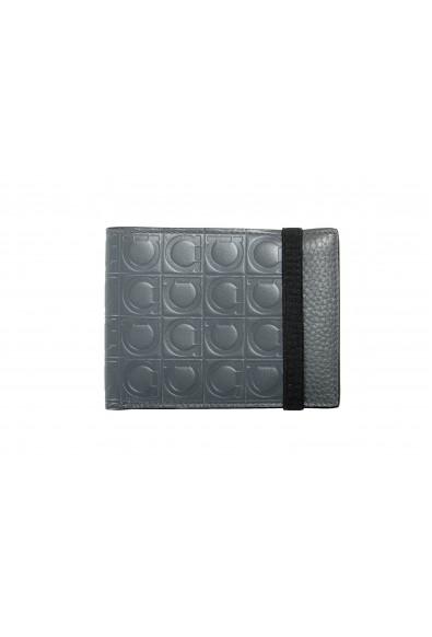 Salvatore Ferragamo Men's 100% Textured Leather Gray Logo Print Bifold Wallet