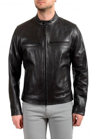 "Hugo Boss Men's ""Nadilo"" 100% Leather Black Biker Jacket"