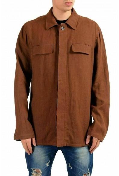 Malo Men's Linen Brown Shirt Style Light Jacket