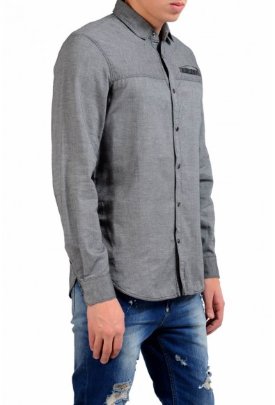 Just Cavalli Men's Gray Button Front Casual Shirt: Picture 2
