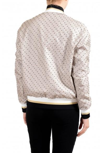 Versace Women's 100% Silk Beige Studded Full Zip Bomber Jacket: Picture 2