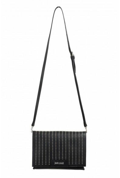 Just Cavalli 100% Leather Black Embellished Women's Shoulder Bag Clutch