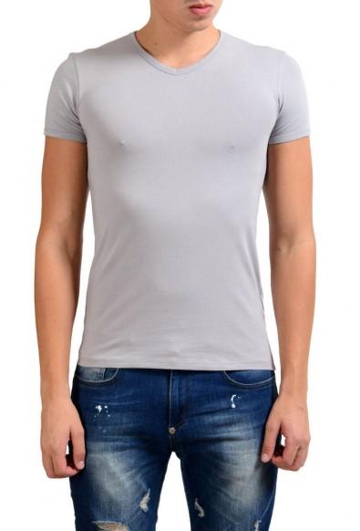 Versace Collection Men's Gray Stretch V-Neck Short Sleeve T-Shirt