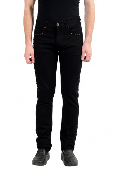 Versace Men's Black Stretch Beads Decorated Taylor Fit Slim Jeans