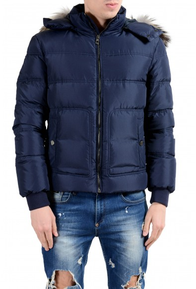 Versace Collection Men's Coyote Fur Down Blue Full Zip Hooded Parka Jacket