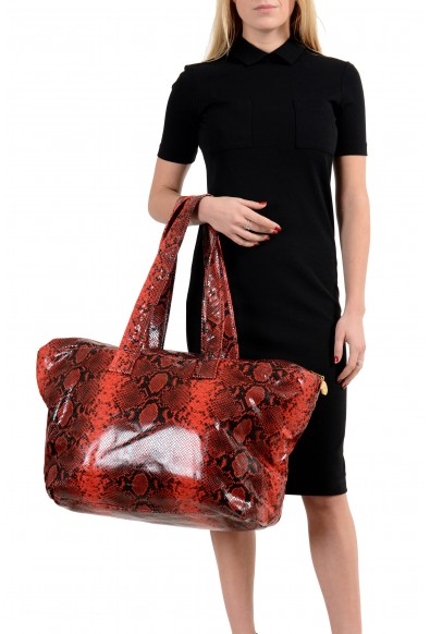 Versace Unisex Red Python Print Leather Large Tote Shoulder Bag: Picture 2