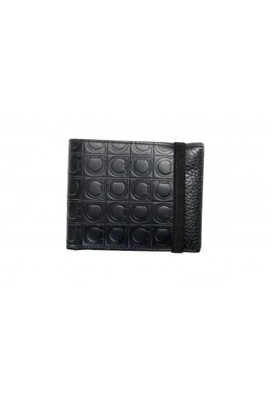 Salvatore Ferragamo Men's 100% Textured Leather Black Logo Print Bifold Wallet