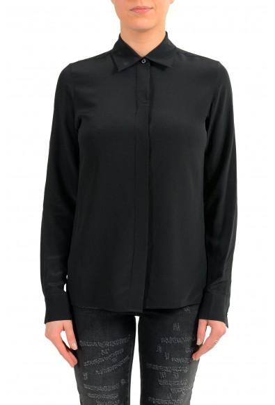 Maison Margiela 4 Women's 100% Silk Black Button Up Blouse Top