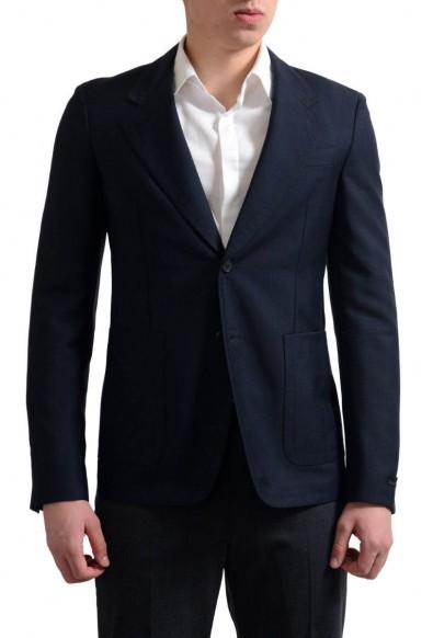 Prada Men's Navy Mohair Wool Two Button Sport Coat Blazer