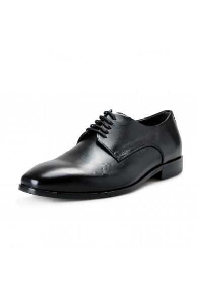"""Hugo Boss Men's """"Highline_Derb_pr1"""" Black Textured Leather Derby Shoes"""