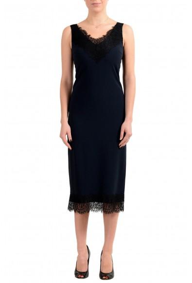 "Hugo Boss Women's ""Haminka1"" Blue Sleeveless Lace Trimmed Dress"