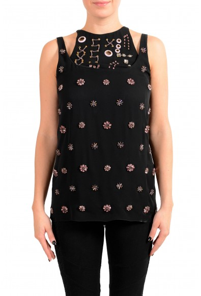 Versace Women's Black 100% Silk Embellished Embroidered Blouse Top