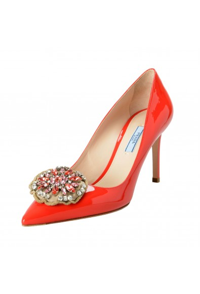 Prada Women's Red Patent Leather High Heel Pumps Shoes
