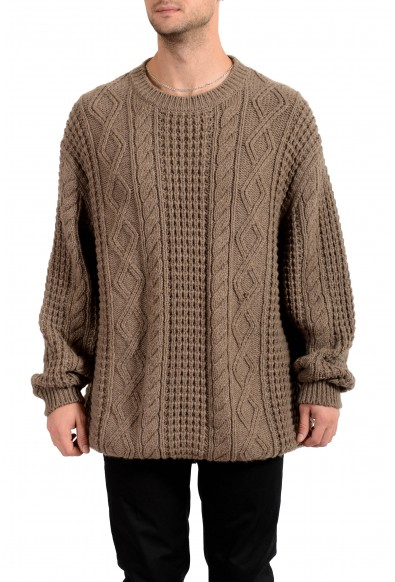 Versace Men's 100% Cashmere Heavy Knitted Crewneck Pullover Sweater