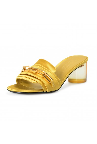 """Burberry London Women's """"COLEFORD"""" Yellow Satin Leather Heeled Sandals Shoes"""