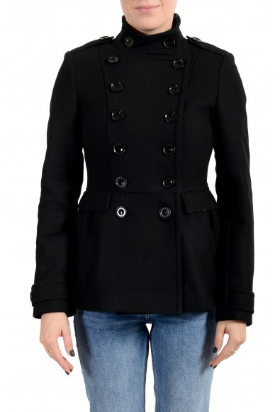 Burberry Women's Black Wool Cashmere Double Breasted Jacket Coat