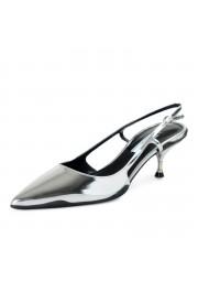 Prada Women's IT261L Silver Leather Slingbacks Pumps Shoes