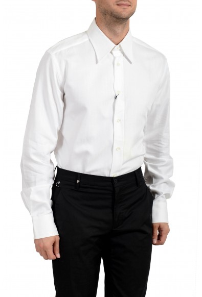 Dolce & Gabbana Men's White Striped Long Sleeve Button Down Dress Shirt: Picture 2