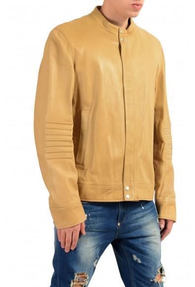 Gucci Men's 100% Leather Beige Full Zip Jacket: Picture 2
